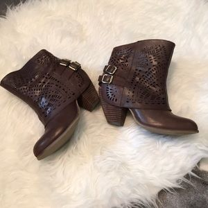 Brown Belted Ankle Bootie